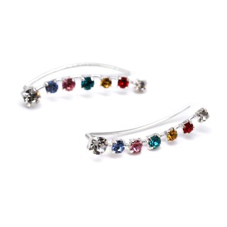 Sterling silver earlines with claw-set rainbow crystals | Image 6