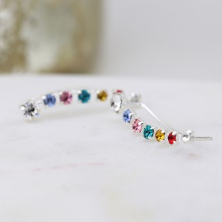 Sterling silver earlines with claw-set rainbow crystals | Image 4