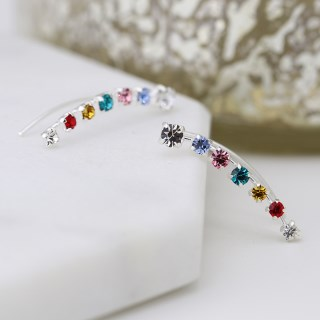 Sterling silver earlines with claw-set rainbow crystals | Image 5