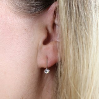 Sterling silver fine drop earrings with little clear crystals | Image 3
