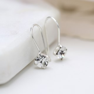 Sterling silver fine drop earrings with little clear crystals | Image 5