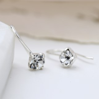 Sterling silver fine drop earrings with little clear crystals | Image 4