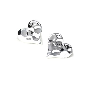 Silver plated textured heart stud earrings | Image 3