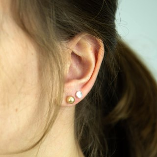 Gold and silver plated stud earring set with worn finish | Image 2