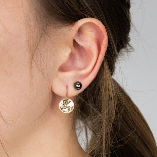Gold disc drop earring and hematite stud earring set | Image 2