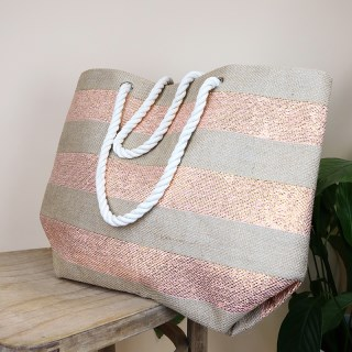 Striped jute beach bag with pink and gold stripes | Image 2