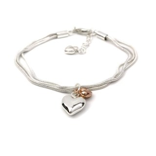Triple strand silver and rose gold plated hearts bracelet | Image 3