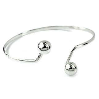 Sterling silver bangle with double ball fastening | Image 3