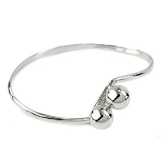 Sterling silver bangle with double ball fastening | Image 2