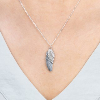Silver plated enamel angel wing necklace with crystals | Image 2
