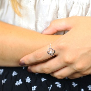 Sterling silver flower ring with CZ crystal centre | Image 2