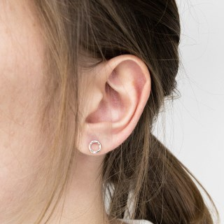 Sterling silver textured circle stud earrings | Image 2