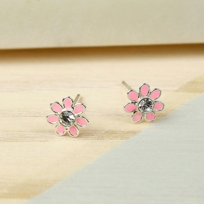 collections large flower amaryllis accd products enchanting stud earrings pink azaara