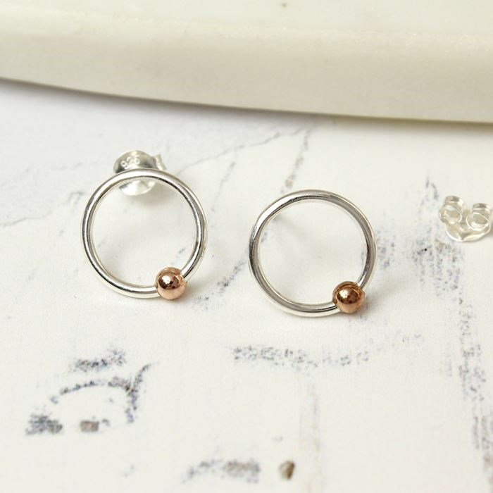Sterling silver hoop earrings with rose gold beads  73f884d72e