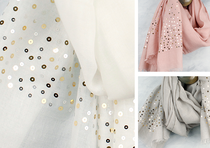 sequined scarves from POM Boutique