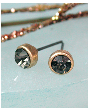 smoky crystal stud earrings