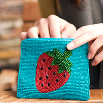 Pom Boutique beaded strawberry purse